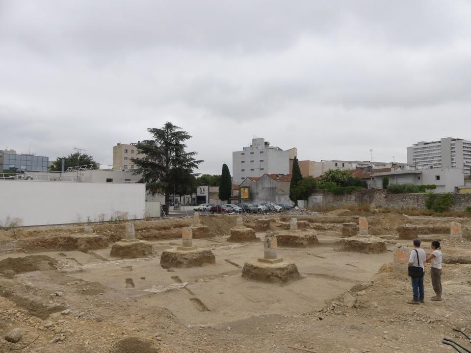 Fondations sur pieux de l'ancienne poste avec traces (obliques) de plantations de vignes de la période républicaine.
