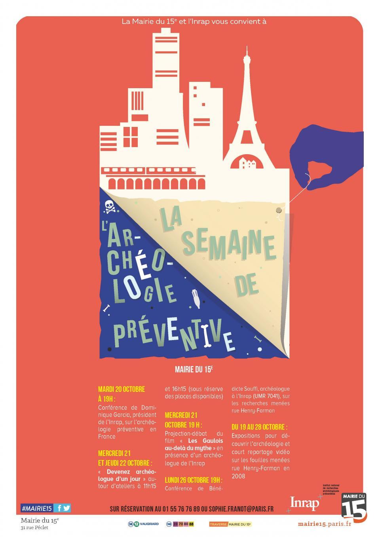 affiche semaine dédiée à l'archéologie préventive du 19 au 28 octobre 2015, à la mairie du XVe arrondissement de Paris