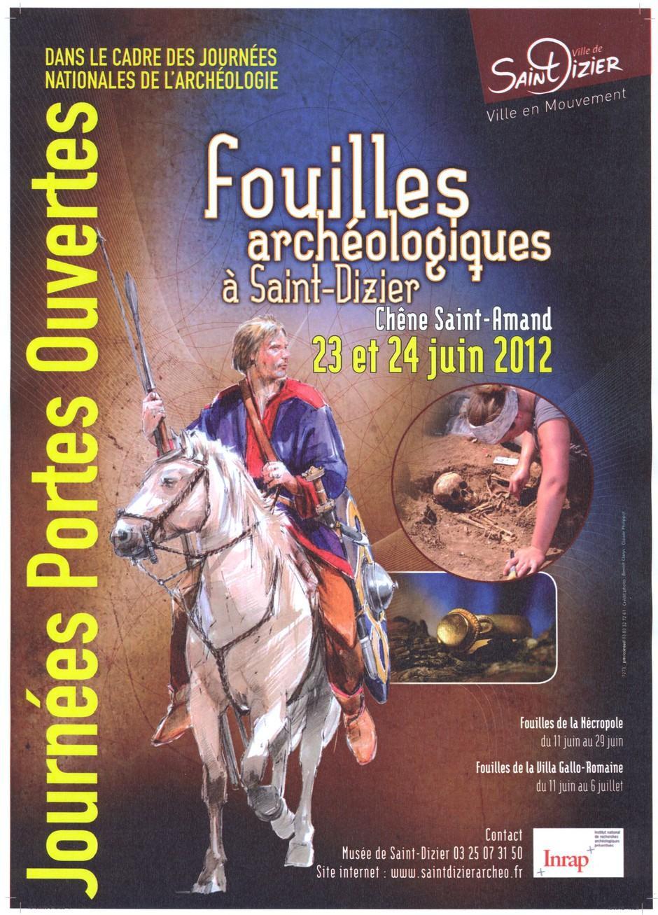 Affiche Journées portes ouvertes aux fouilles archéologiques à Saint-Dizier, le 23 et 24 juin 2012