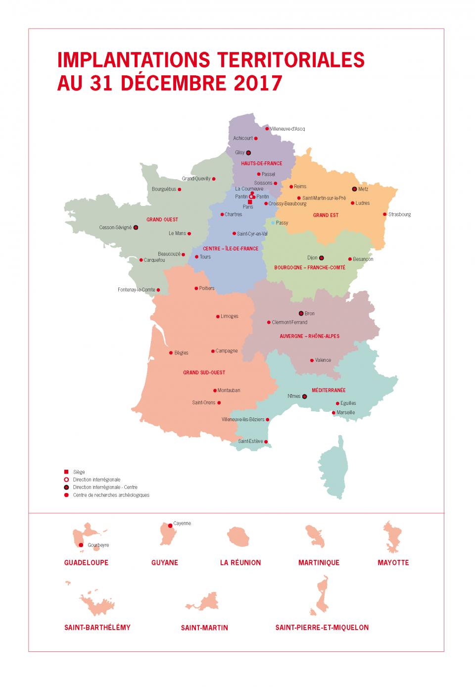 Carte des implantations territoriales de l'Inrap au 31 décembre 2017