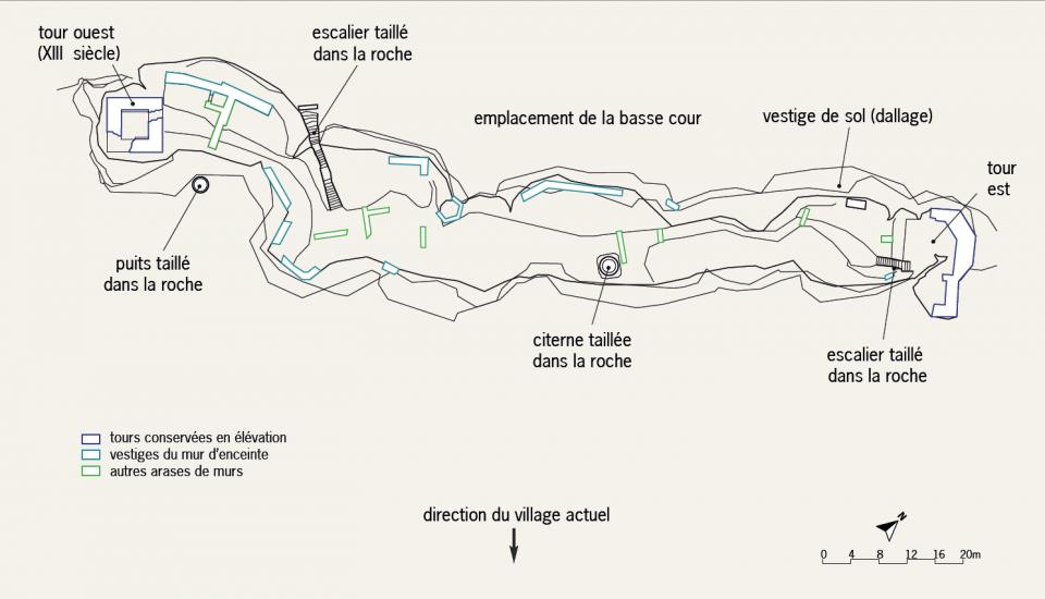 Plan général du château et des interventions archéologiques de l'Inrap