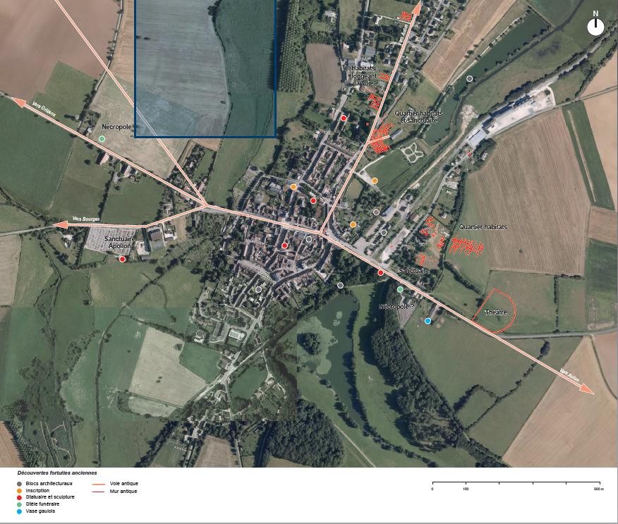 Localisation des vestiges d'époque romaine connus dans le bourg d'Entrains-sur-Nohain