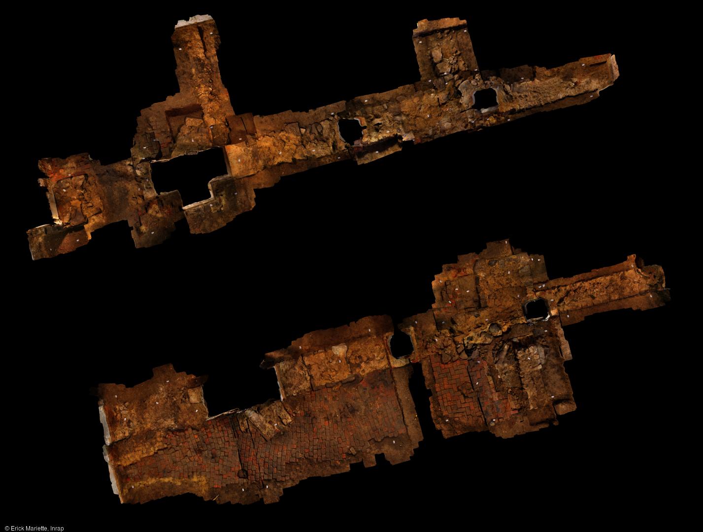 Orthophotographie résultant de la photogrammétrie (vue zénithale) effectuée dans l'église Sainte-Benoite de Lerzy (Aisne) et dévoilant les vestiges de l'église romane (XIe-XIIe siècles).