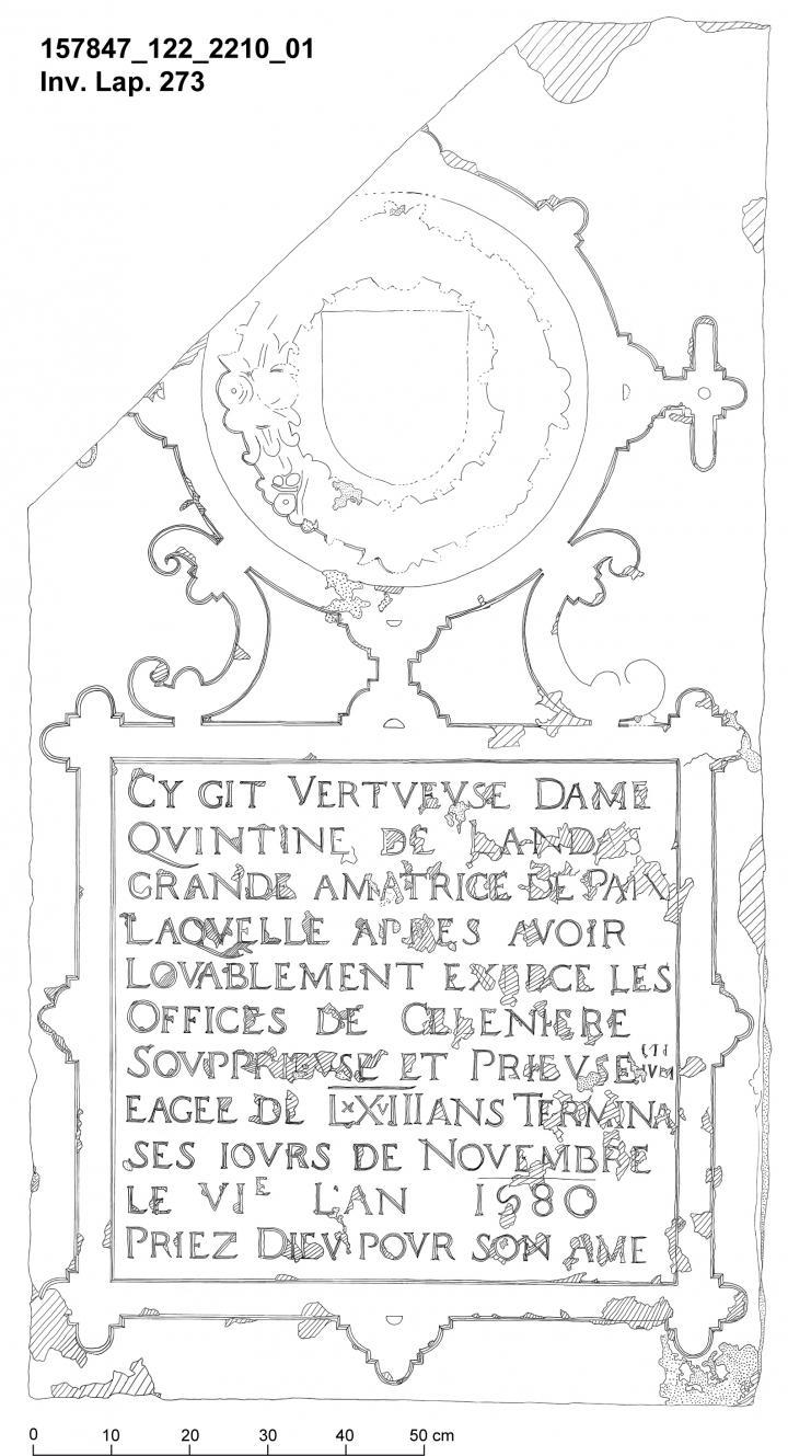 Pierre tombale de Quintine de Landas.
