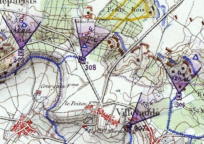 Extrait de la carte de mars 1915 figurant la batterie 308, symbolisée par un carré violet, desservie par une voie ferrée) de 60, nantie d'un observatoire et armée de 4 canons de 120 mm long. Service Historique de la Défense, cote 23 N 72, document communiqué par G. Mercé (Inrap)