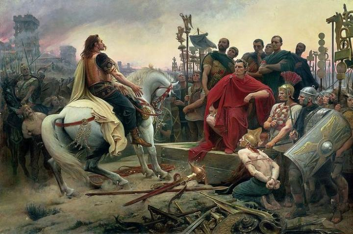 Vercingétorix jette ses armes aux pieds de César, de Lionel Royer, 1899