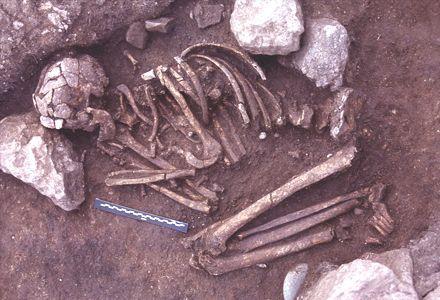 Sépulture individuelle datant du Néolithique précéramique (8e millénaire avant notre ère) découverte sur le site de Shillourokambos à Parekklisha (Chypre)