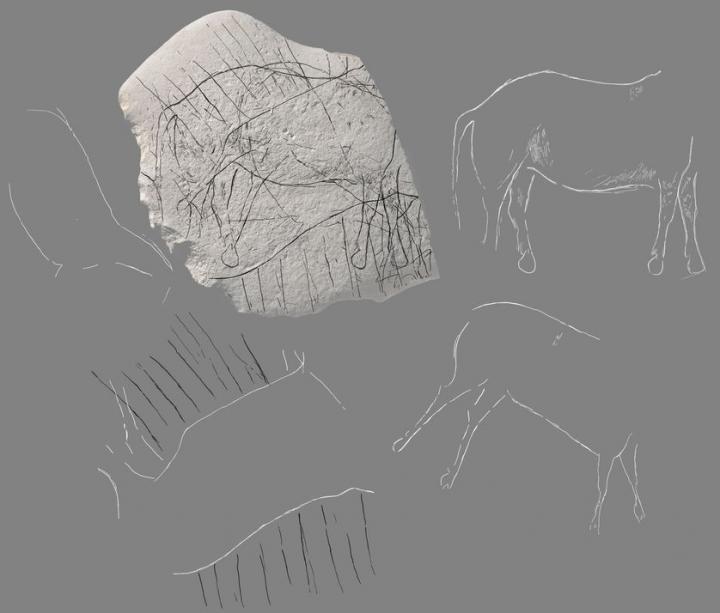 Face A de la pierre d'Angoulême accompagnée de dessins