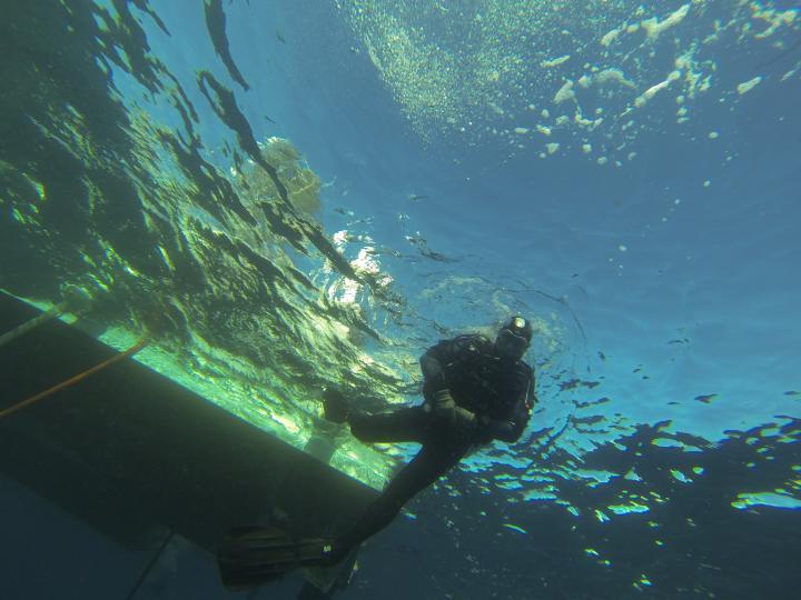 Archéologue sous l'eau