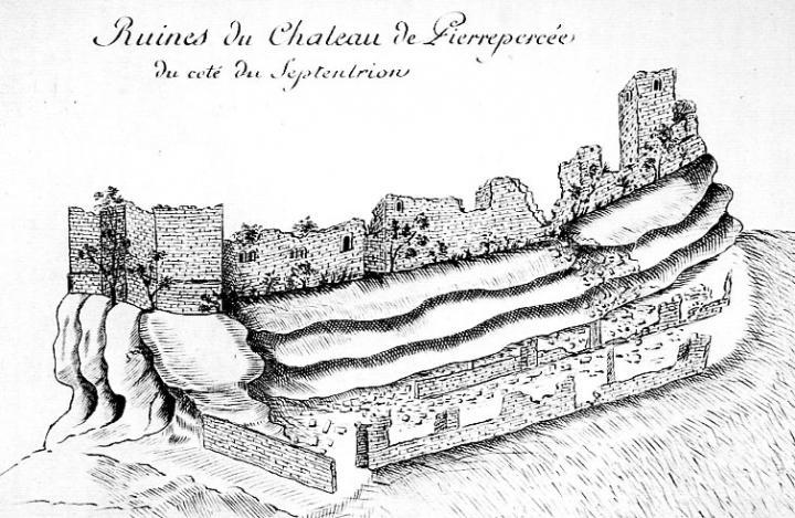 Dessin de la face nord des ruines du château de Pierre-Percée, Charles-Ambroise Pelletier (1755), tiré de la Description de la principé de Salm