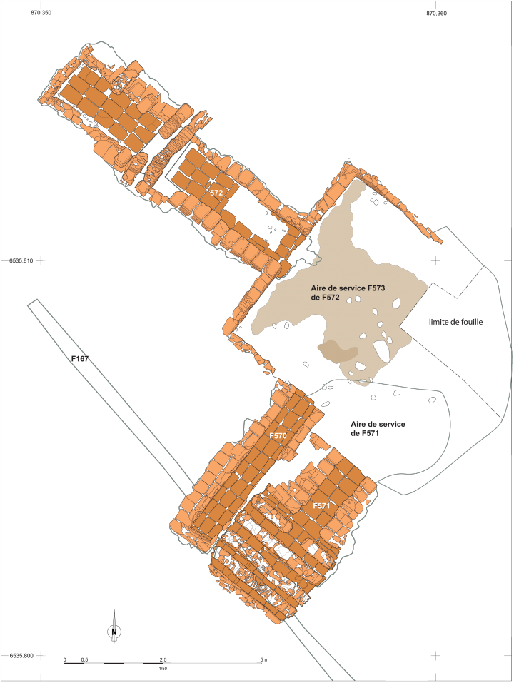 Plan des fours de tuiliers dans le secteur 1 ; plan à l'échelle 1/50