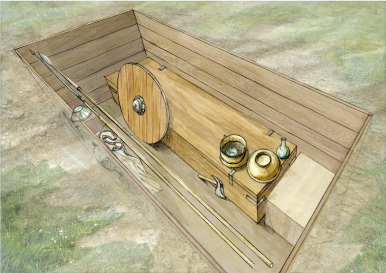 Proposition de restitution de la chambre funéraire 11 (sans les restes textile)