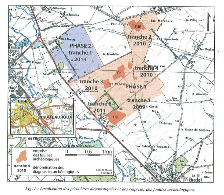 Figure 1 Localisation des périmètres diagnostiquées et des emprises des fouilles archéologiques