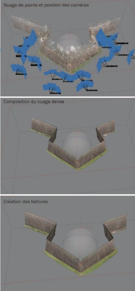 Illustration du traitement du relevé extérieur de la tour bastionnée n°2 de la fortification de Neuf-Brisach