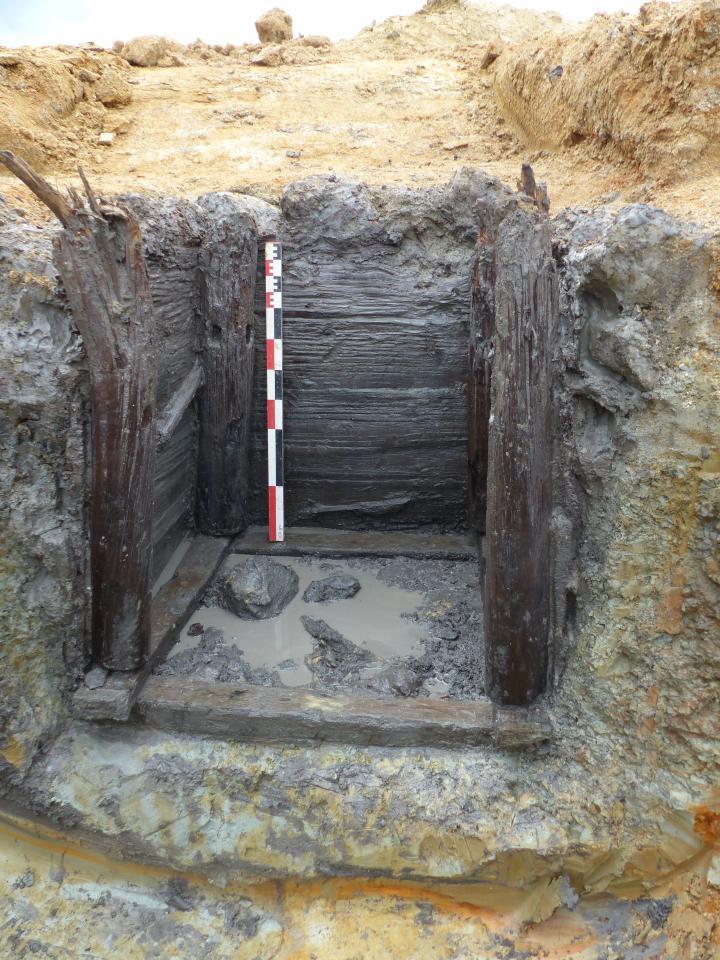 Cuvelage en bois d'un puits gaulois, à Saint-Flour