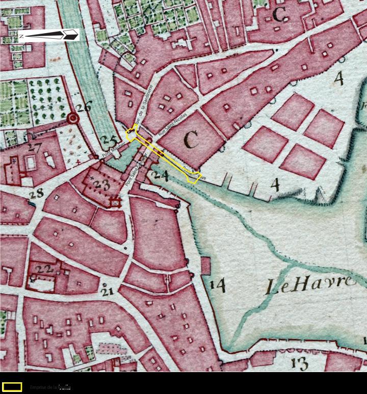 Plan du quartier Saint-Sauveur et Saint-Nicolas avec les ponts Maubec et Saint-Sauveur. Plan attribué à Claude Masse, 1688.