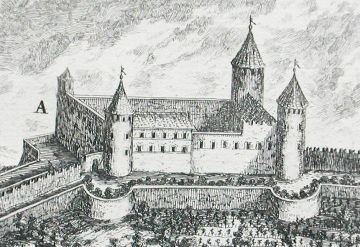 Dépôt du Conseil Départemental de la Haute-Savoie, Bibliothèque du Grand Séminaire, Annecy). La tour sud-ouest (en bas, à gauche) et l'échauguette n'existent plus aujourd'hui.