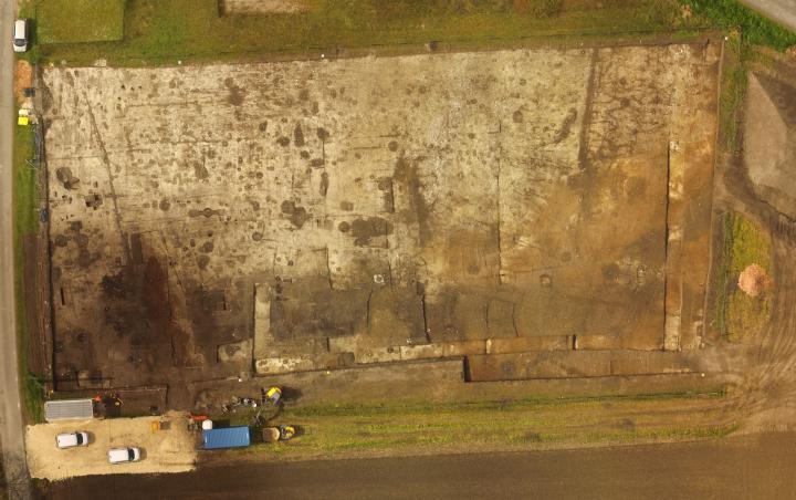 Vue aérienne de la fouille.