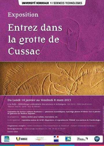 Expositions <I> Entrez dans la Grotte de Cussac </I> et <I> Les métiers de l'archéologie </I> à l'Université Bordeaux 1 du 14 janvier au 8 mars 2013