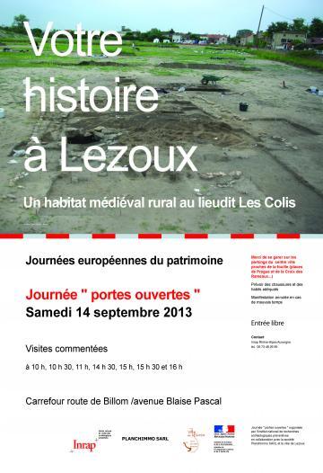 Journée portes ouvertes samedi 14 septembre 2013 : Un habitat médiéval rural à Lezoux (Puy-de-Dôme)