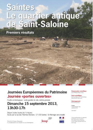 Journée portes ouvertes dimanche 15 septembre 2013 : Le quartier antique de Saint-Saloine à Saintes (Charente-Maritime)