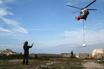Diagnostic archéologique au Château d'If : participation d'hélicoptères de l'armée de l'air