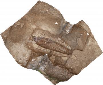 Vue zénithale de la sépulture 22 après la reconstruction photogrammétrique