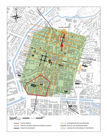 Localisation du site dans le quadrillage que formaient les rues de la ville antique.