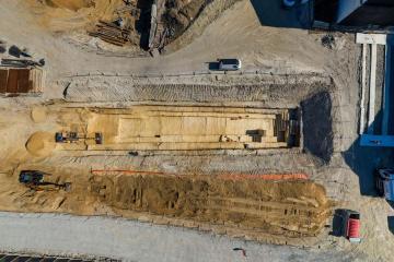 Vue aérienne de la tranchée de fouille de Clichy la Garenne, Impasse Dumur.