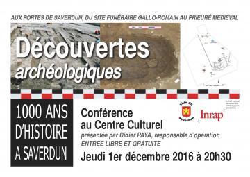 Affiche conférence Découvertes archéologiques aux portes de Saverdun