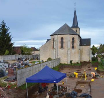 Bonnée (Loiret) - Vue du chantier archéologique en cours de fouille