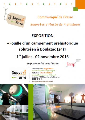 affiche_exposition «Fouille d'un campement préhistorique solutréen à Boulazac (24)»