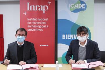 Daniel Guérin, directeur général de l'Inrap et Emmanuel Desmaizières, directeur général d'Icade Promotion