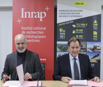 Dominique Garcia, président de l'Inrap, et Thierry Meline, directeur général de Colas France