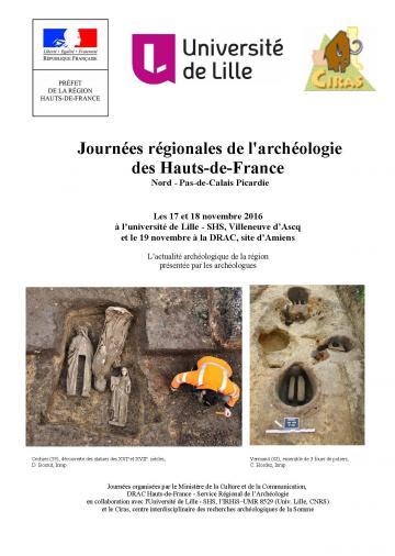 Affiche Journées régionales de l'archéologie en Hauts de France 2016