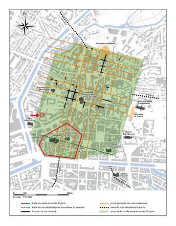 Localisation de la découverte dans le tissu urbain antique
