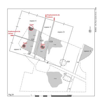 Plan de restitution d'un des premiers bâtiments