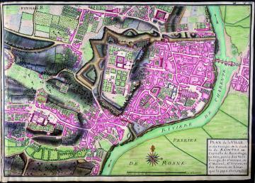 Plan de la ville de Saintes et de ses fortifications réalisé par Claude Masse en 1716
