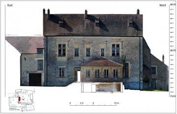 Photogrammétrie de la façade est (sur cour) du manoir transformé en maison de maître dans la ferme du Coulevrain à Savigny-le-Temple, Seine-et-Marne