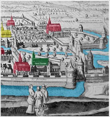 Détail d'une vue cavalière de Rennes vers 1644