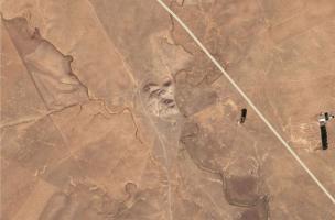 image satellite du tell illustrant le réseau de wadis l'entourant