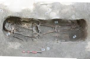 Rouen, Saint-Eloi, restitution photogrammétrique d'une sépulture