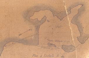 Plan de le Grotte du Trou de la Mère Clochette à Rochefort-sur-Nenon par J. Feuvrier.