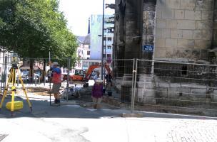 Rouen, Saint-Eloi,décapage et relevé topographique du site
