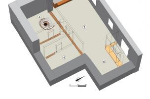 Hypothèse de restitution du rez-de-chaussée de la maison canoniale, 1400-1450.