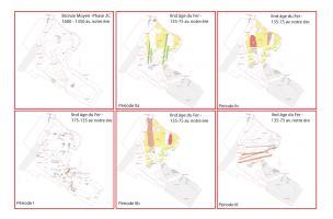 Plans des différentes périodes d'occupation au cours du second âge du Fer