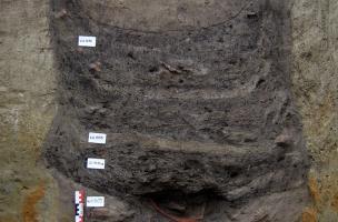 Coupe stratigraphique du comblement et forme du creusement d'un des puits.