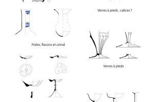 Ensemble de verrerie provenant de la fosse dépotoir FS1028, XIVe siècle
