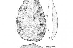 Uniface partiel en quartzite