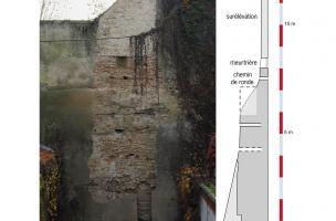 Portion du rempart du XIIIe siècle débarrassé de son enduit